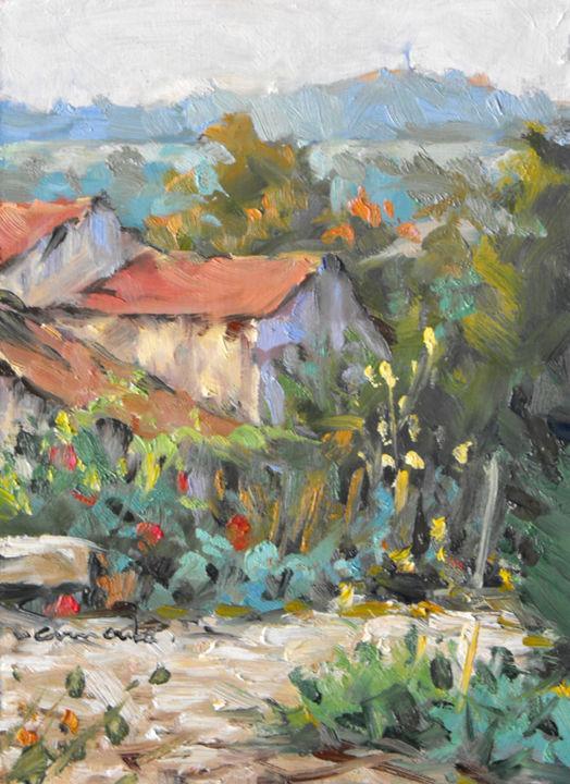 Christian Arnould - Notre ancien jardin à Gugney (pochade 22 x 16)