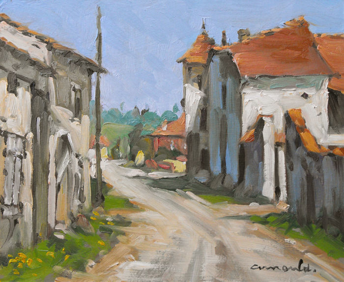 Christian Arnould - Maison au pigeonnier à Boulaincourt (huile sur carton 27 x 22)