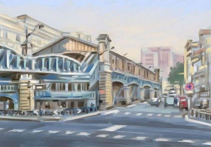 Christian Arnould - peinture numérique du Quai de la gare Métro Parisien