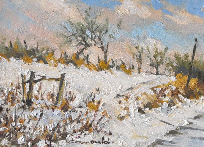 Christian Arnould - Vignes de Gugney sous la neige (pochade 22 x 16)