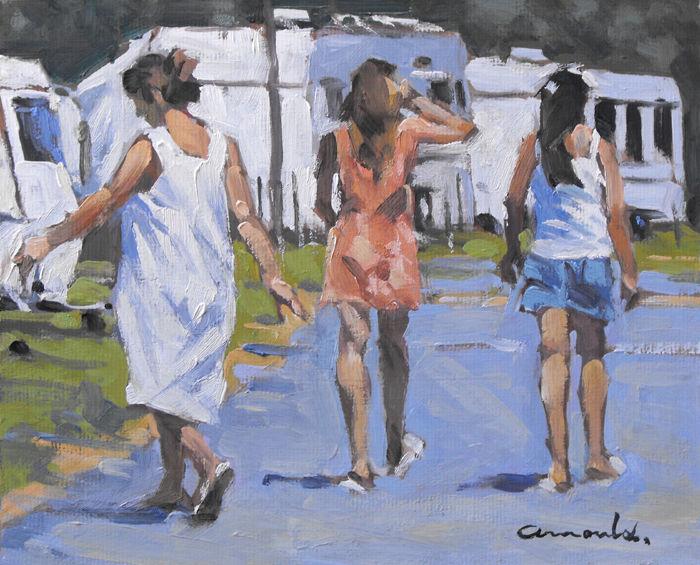 Christian Arnould - Roms (huile sur carton 27 x 22)