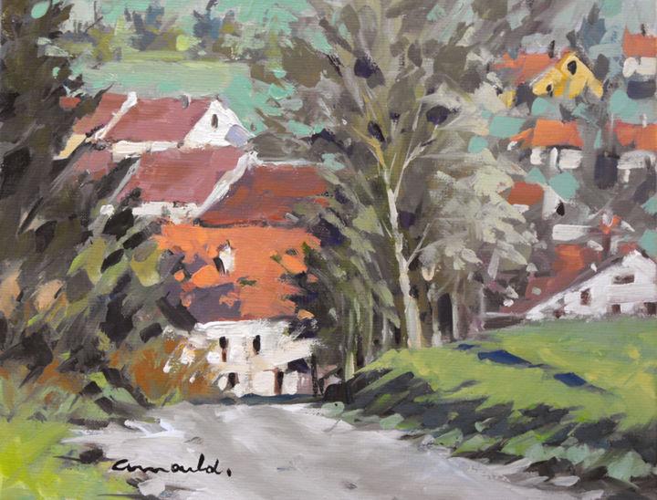 Christian Arnould - En descendant à Glonville (huile sur toile 35 x 27)