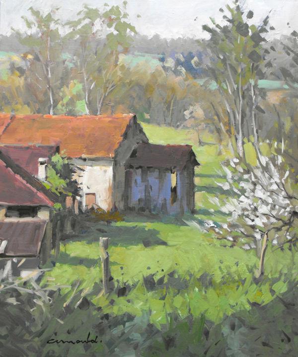 Christian Arnould - Vue dans Bazien (huile sur toile 61 x 46)