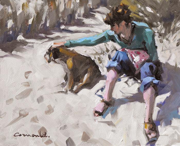 Christian Arnould - sur le sable (huile sur carton 27 x 22)
