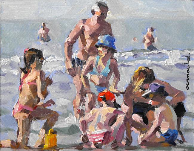 Christian Arnould - Petite plage (huile sur carton 18 x 14)