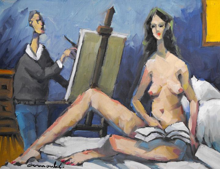 Christian Arnould - Le modèle (huile sur carton 35 x 27)