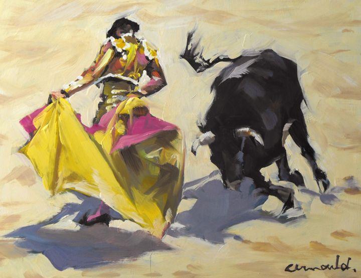 Christian Arnould - Toro (huile sur bois 27 x 22)