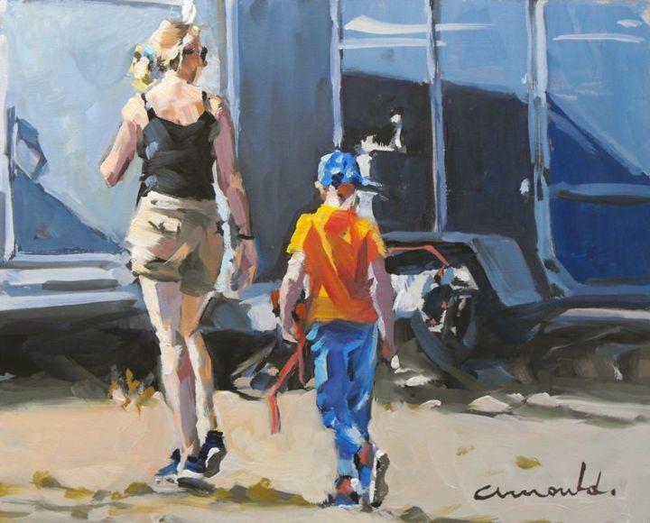Christian Arnould - Petite peinture d'un Dimanche matin (huile sur bois 27 x 22)