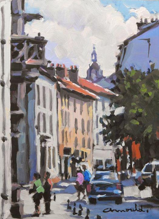 Christian Arnould - Vieille ville Nancy (huile sur bois 22 x 16)
