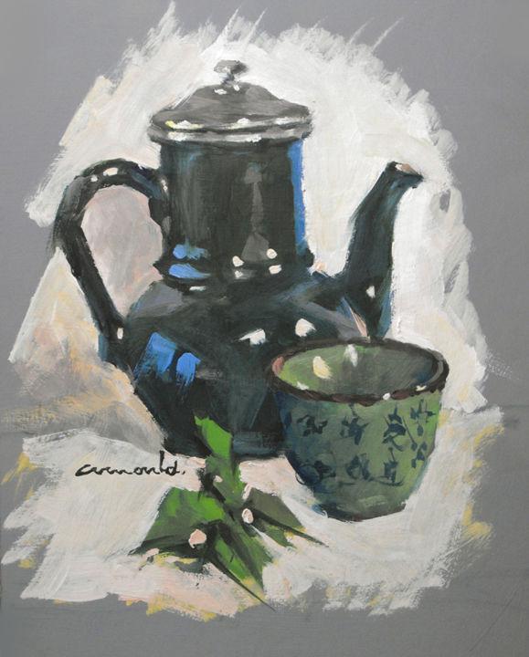 Christian Arnould - Cafetière verte (huile sur carton 35 x 27)