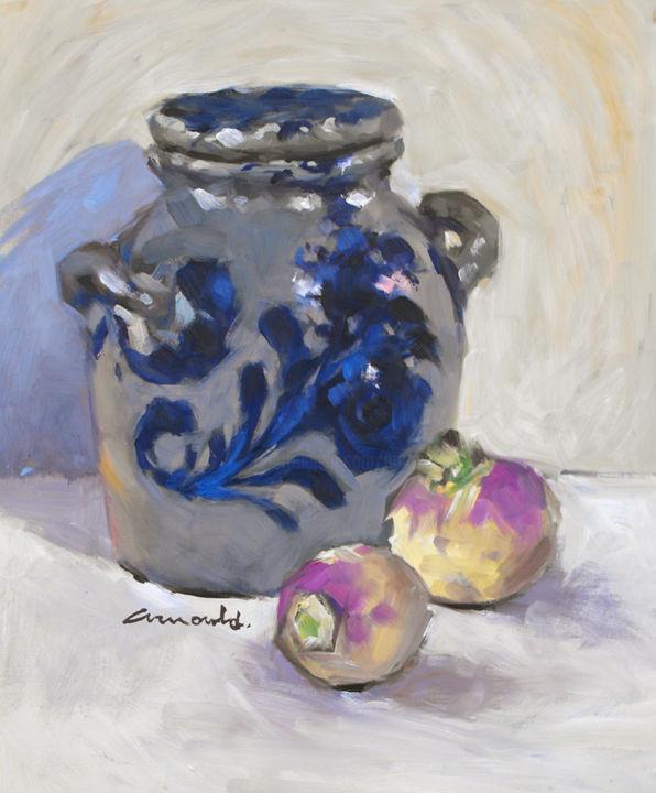 Christian Arnould - Pot à moutarde (huile sur bois 41 x 33)