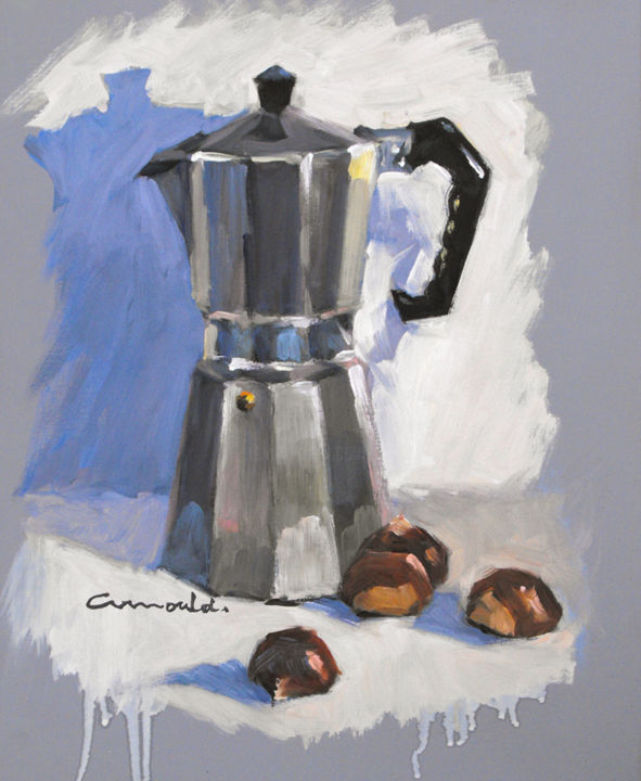 Christian Arnould - Cafetière Italienne et châtaignes (huile sur bois 41 x 33)