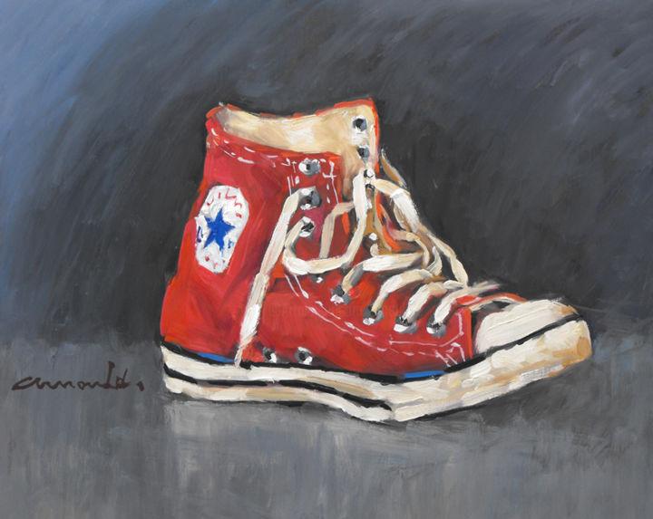 Christian Arnould - Converse rouge (huile sur bois 41 x 33)