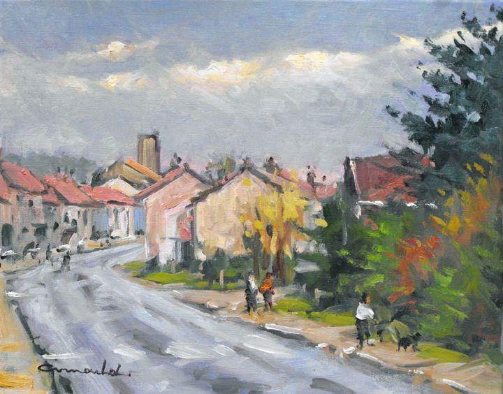 Christian Arnould - Ce matin à Azerailles (huile sur toile 41 x 33)