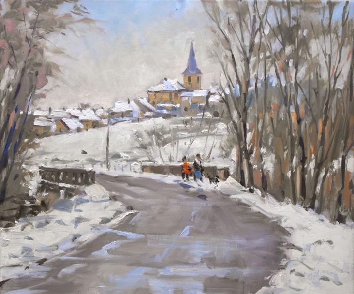 Christian Arnould - Ce matin à Glonville (huile sur toile 55 x 46)