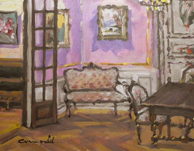 Christian Arnould - Salon de la maison de Nicole Gauthier au 101 (pochade huile sur carton 35 x 27)