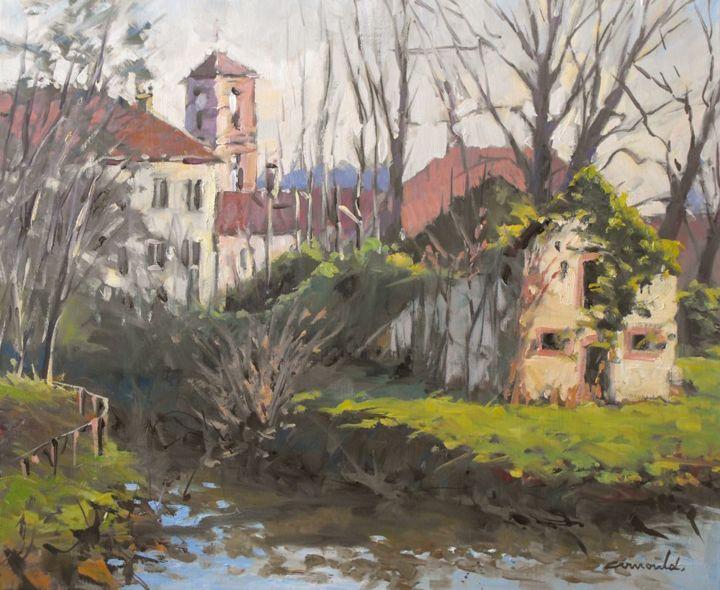 Christian Arnould - Ruines à Raon l'étape (huile sur toile 61 x 50)