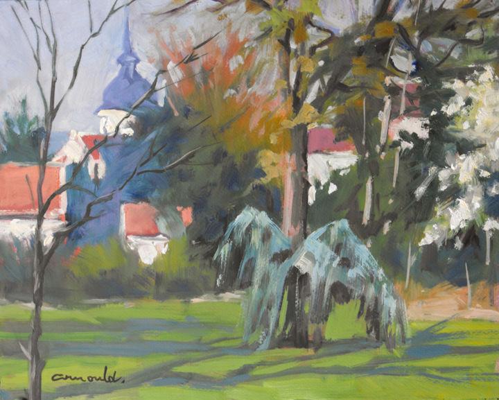 Christian Arnould - Parc Olry à Nancy (huile sur papier 35 x 27)