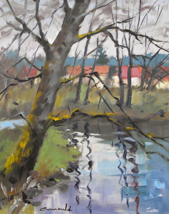 Christian Arnould - Plein air avec mes élèves (huile sur papier 41 x 33)