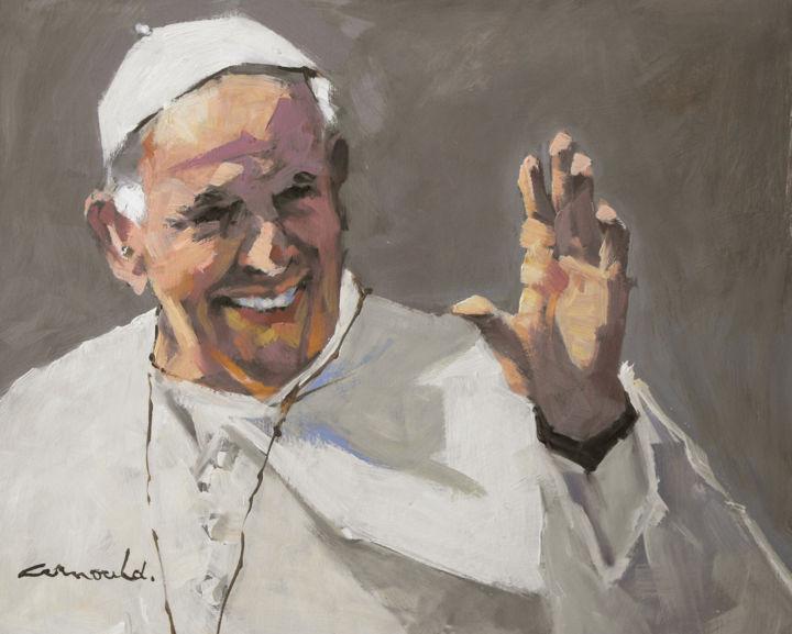 Christian Arnould - Pape François (huile sur carton 41 x 33)