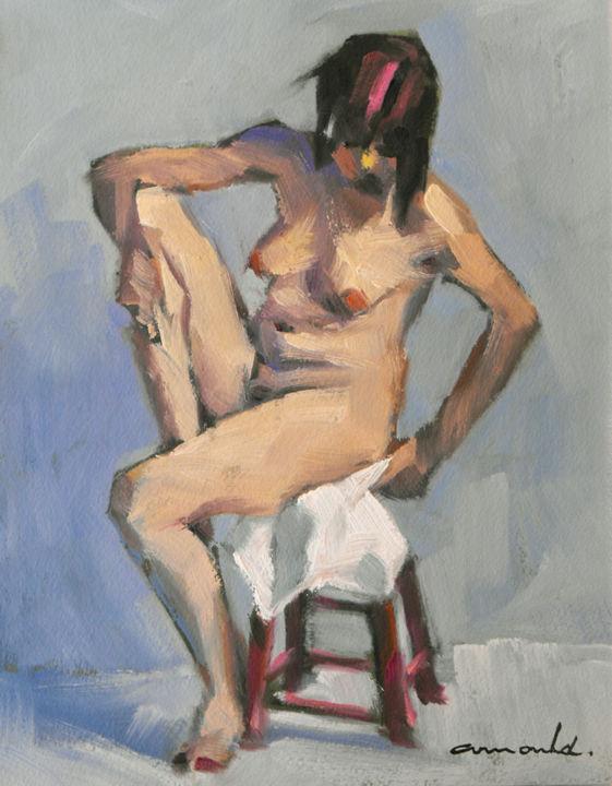 Christian Arnould - Ce matin (huile sur papier 27 x 22)
