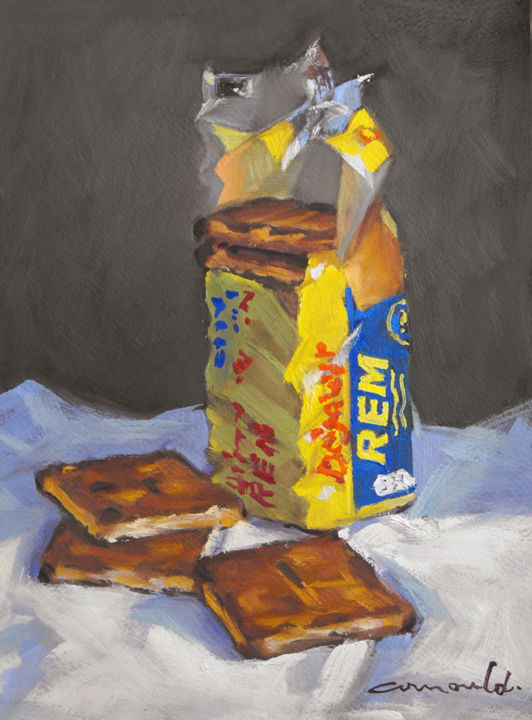 Christian Arnould - Petit déjeuner (huile sur papier 35 x 27)