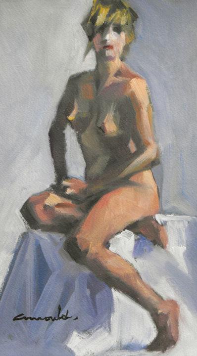 Christian Arnould - Au chaud (huile sur papier 27 x 16)
