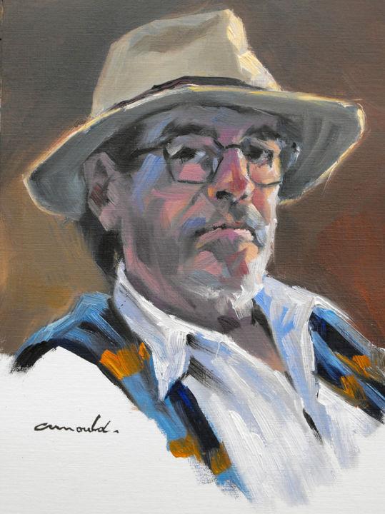 Christian Arnould - Autoportrait d'avant (huile sur papier 33 x 24)