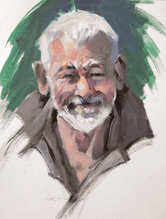 Christian Arnould - Démo à Alstom portrait (huile sur papier)