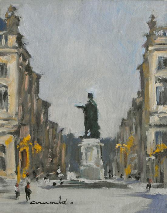 Christian Arnould - Pochade place Stanislas Nancy (huile 24 x 19)