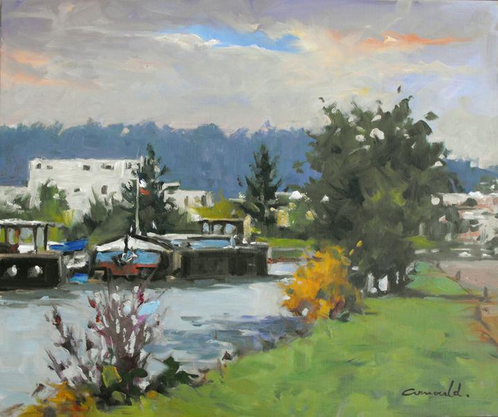 Christian Arnould - Canal à Champigneulles (huile sur toile 55 x 46)