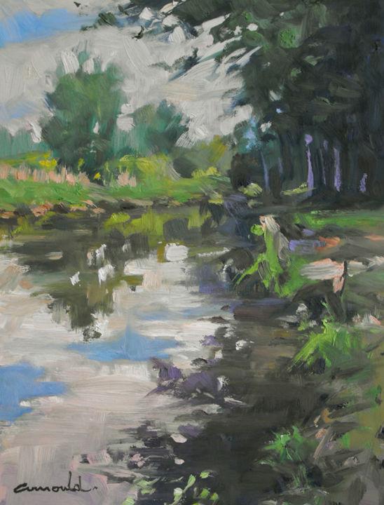 Christian Arnould - Vieille rivière (huile sur bois 35 x 27)