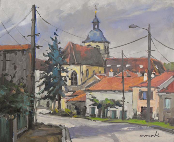 Christian Arnould - Prieuré de Flavigny (huile sur bois 46 x 38)