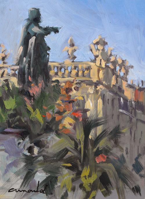 Christian Arnould - Pochade jardin éphémère (huile sur bois 22 x 16)