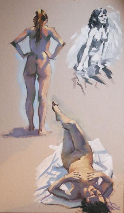 Christian Arnould - Petites gammes du matin suite (huile sur carton)