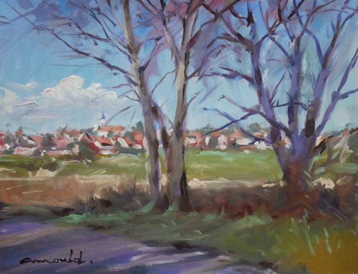 Christian Arnould - Domptail au loin (huile sur papier 35 x 27)