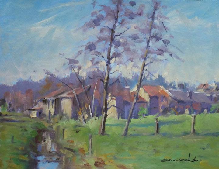 Christian Arnould - C'était à Badménil (huile sur papier 35 x 27)