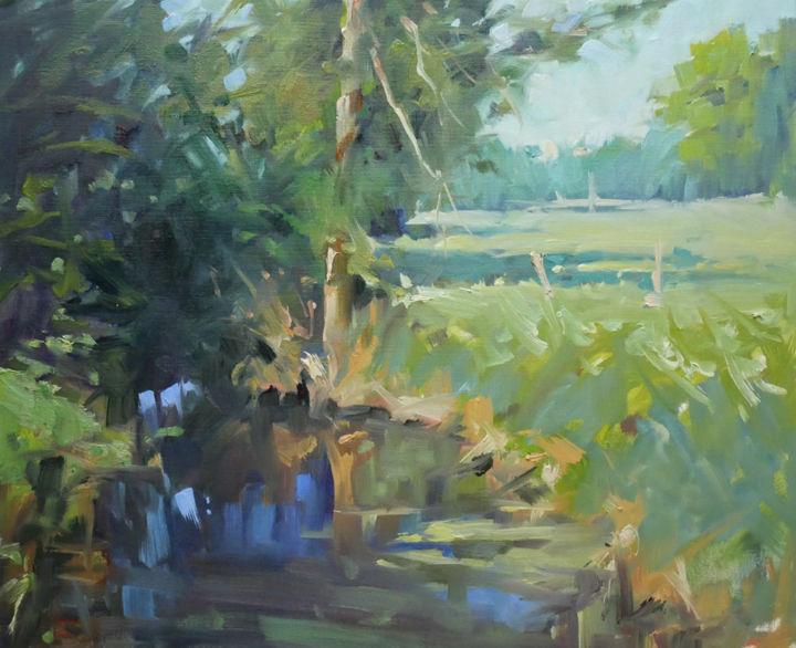 Christian Arnould - C'était à Glonville (huile sur papier 46 x 38)