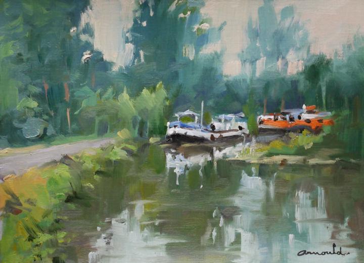 Christian Arnould - Petit canal (huile sur papier 33 x 24)