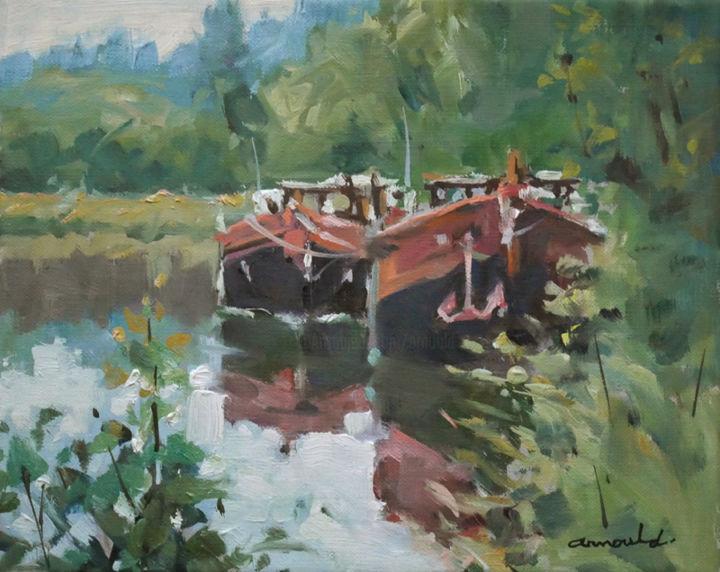 Christian Arnould - Vieux canal (huile sur toile 27 x 22)
