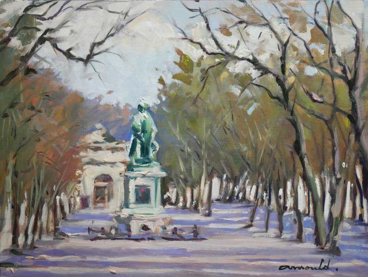 Christian Arnould - Place Carnot à Nancy (huile sur papier 40 x 30)