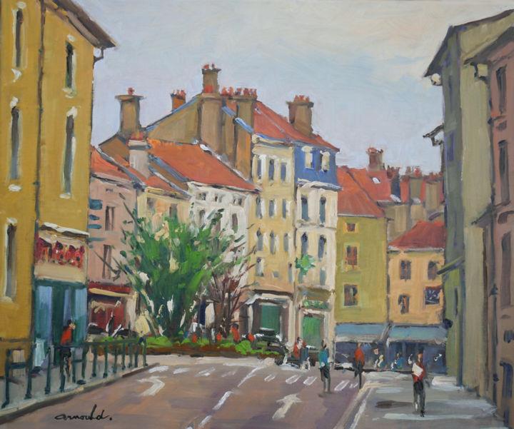 Christian Arnould - Les 3 Maisons à Nancy (huile sur toile 55 x 46)