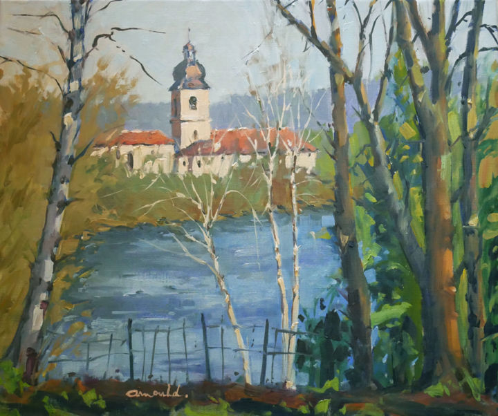 Christian Arnould - La Moselle à Flavigny (huile sur toile 65 x 54)